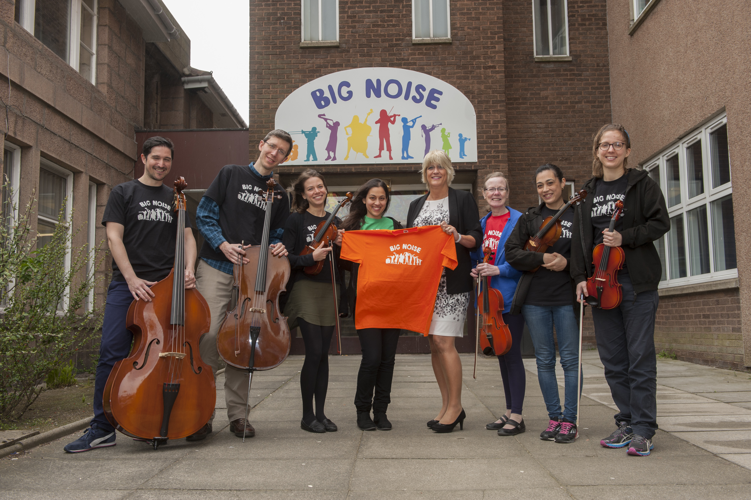 Big Noise in Torry - Councillor Angela Taylor greets the new teachers 19th May 2015  Photograph by marc marnie  World Rights
