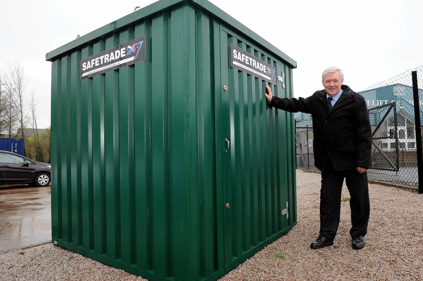 Bill Cheyne, Commercial Development Manager of SafeTrade 247, who are donating a high tech security storage unit to CLAN in Ballater after thieves broke into the charity shop's storage shed and threw their stock into the River Dee.