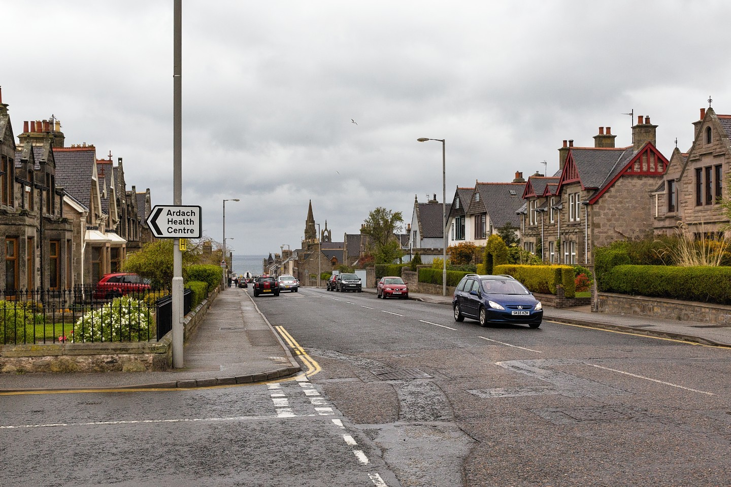 A view from the crossroad junction towards Cluny Square in Buckie.