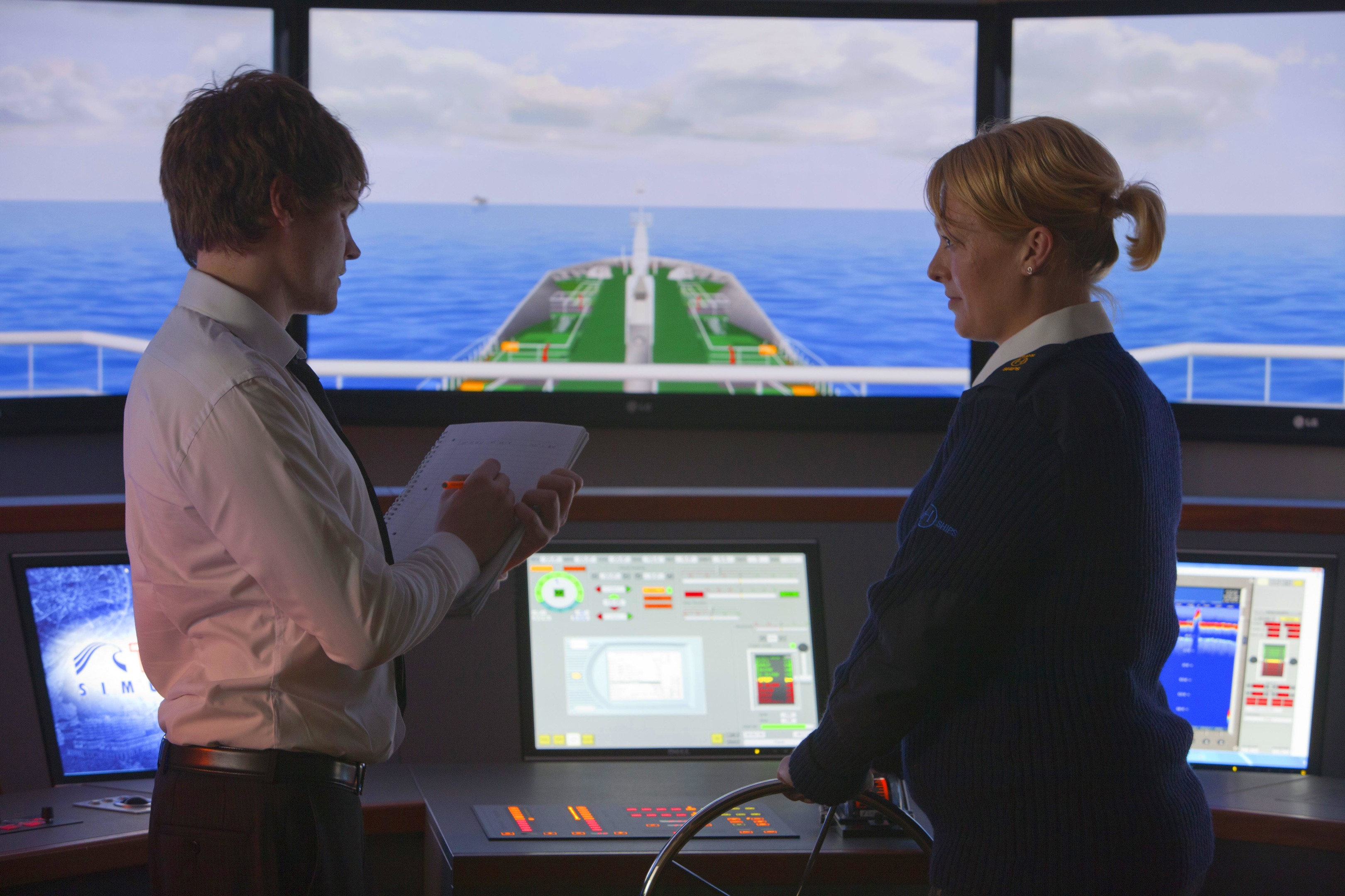 Cadets using the Ship Simulator at the Scottish Maritime Academy