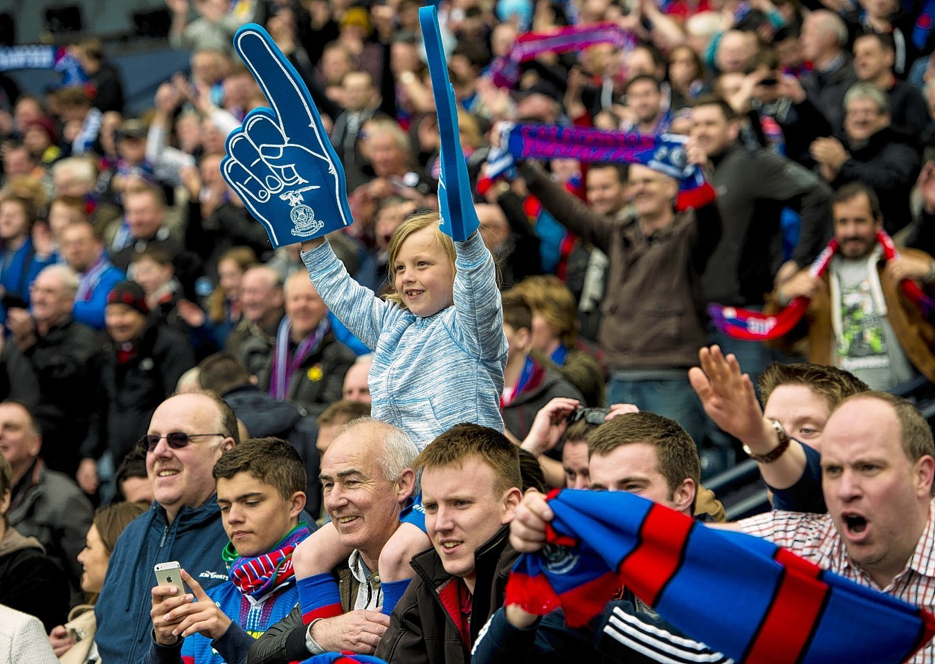 Caley Thistle fans celebrate the semi final win over Celtic