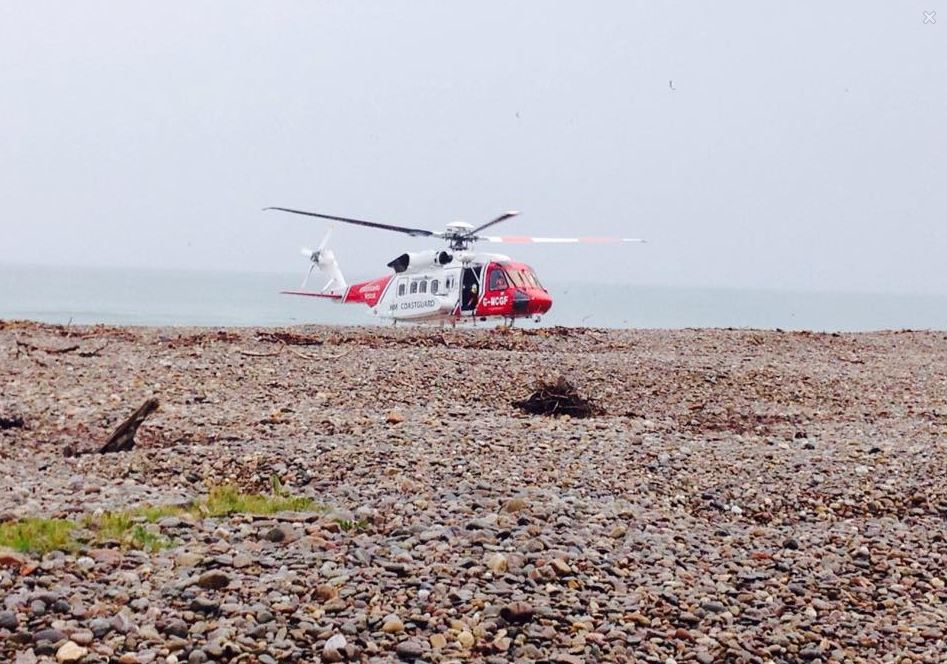 The Coastguard helicopter at Spey Bay