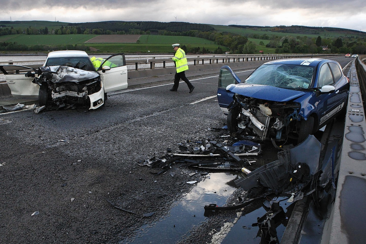Two of the cars involved in the crash on Cromarty Bridge. Picture: Andrew Smith