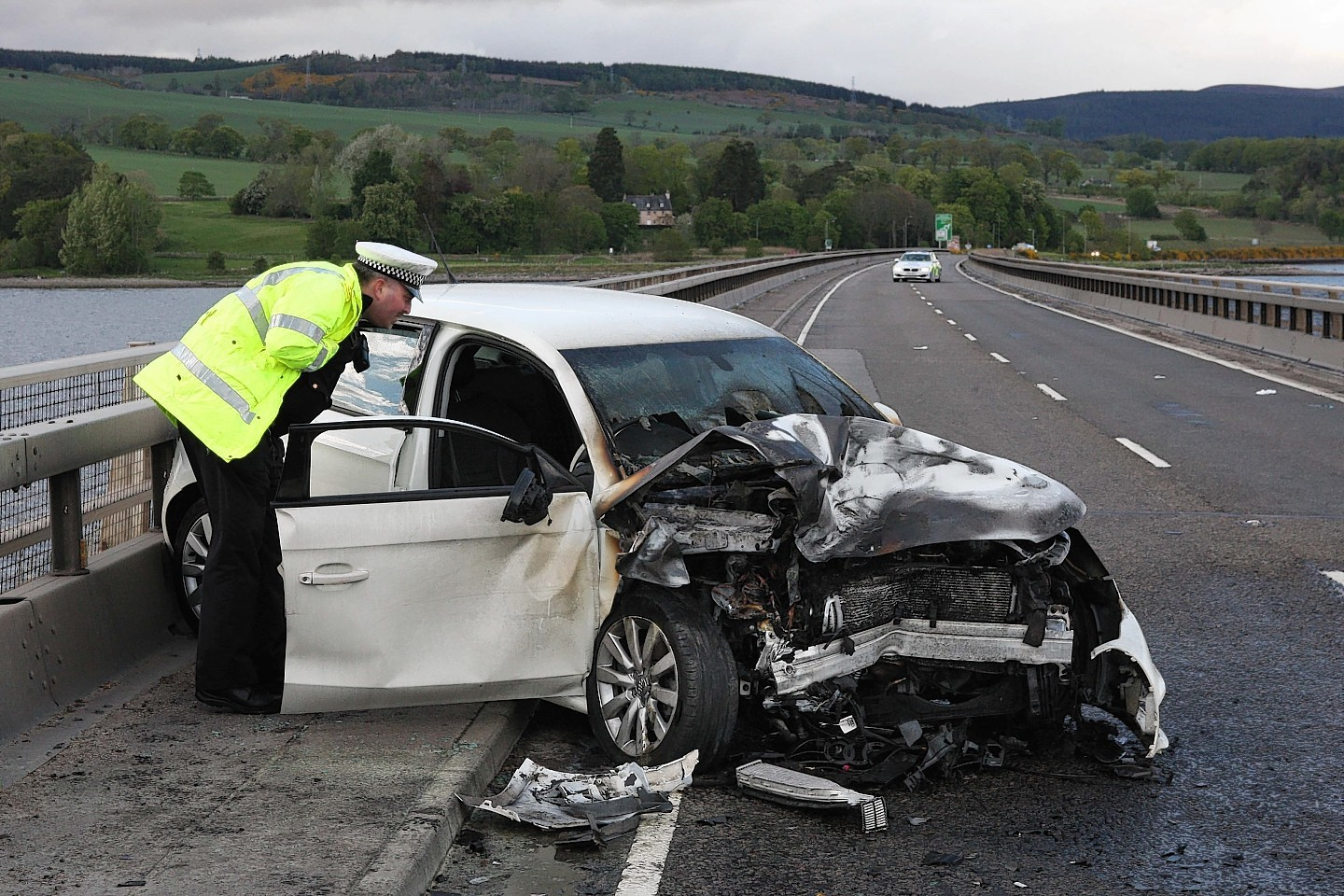 One of the cars involved in the crash on Cromarty Bridge. Picture: Andrew Smith