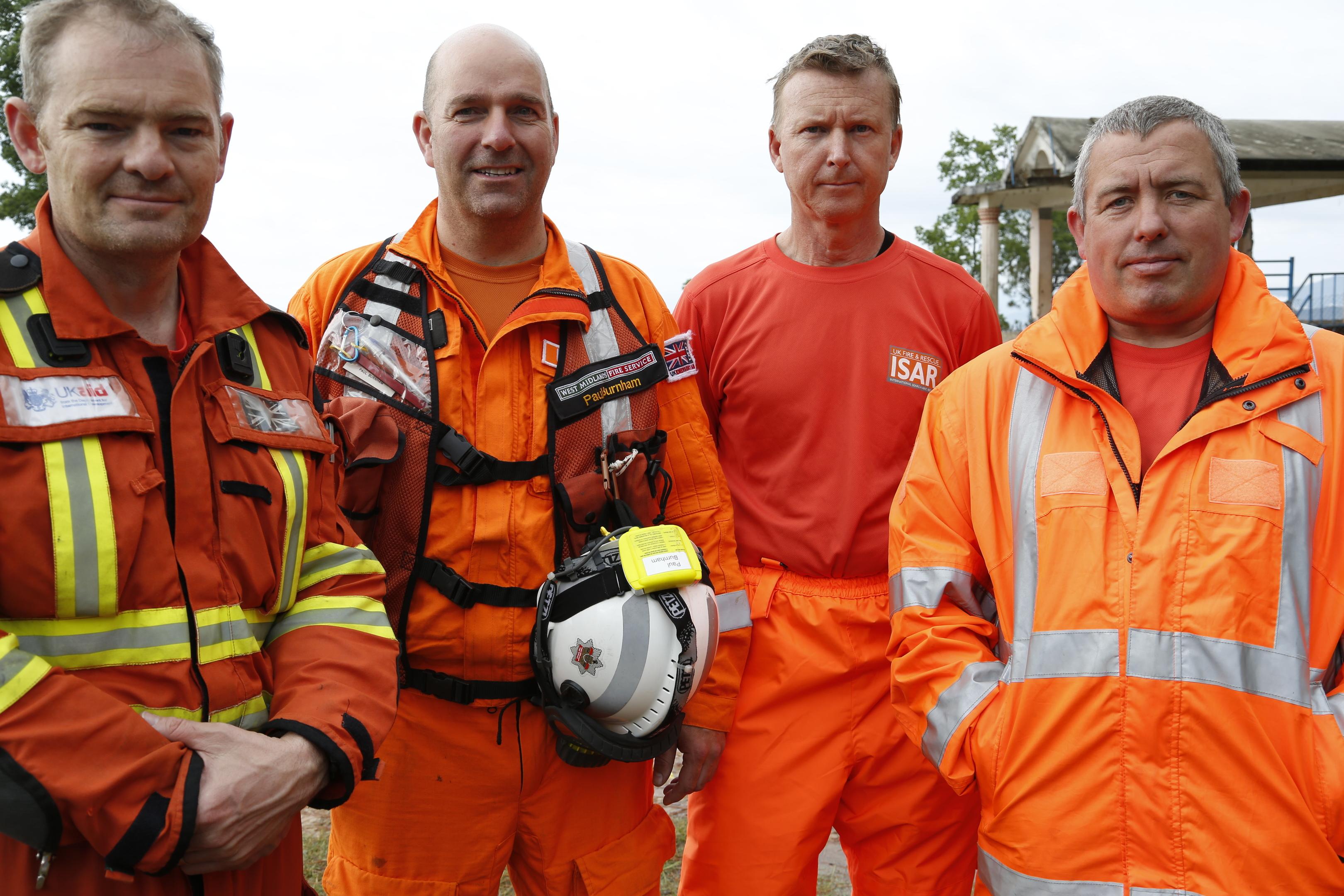 rom L - R Dr Malcolm Russell, Area Commander Paul Burnham, West Mids Fire and Rescue, John Ball Essex dog handler, Gary Caroll SFRS dog handler
