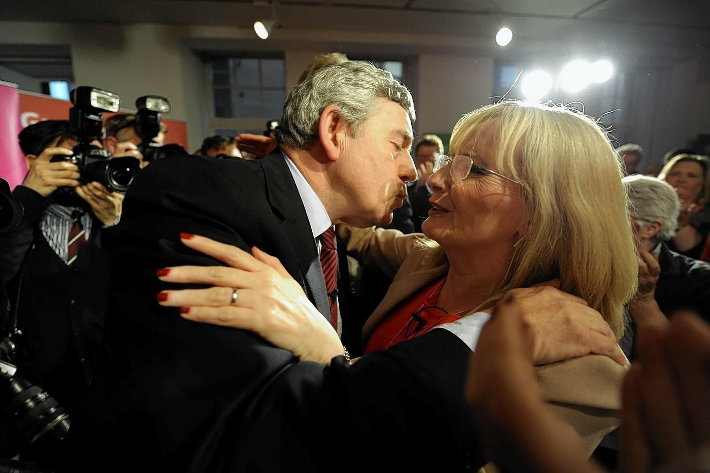 Gordon Brown greets Margaret Curran