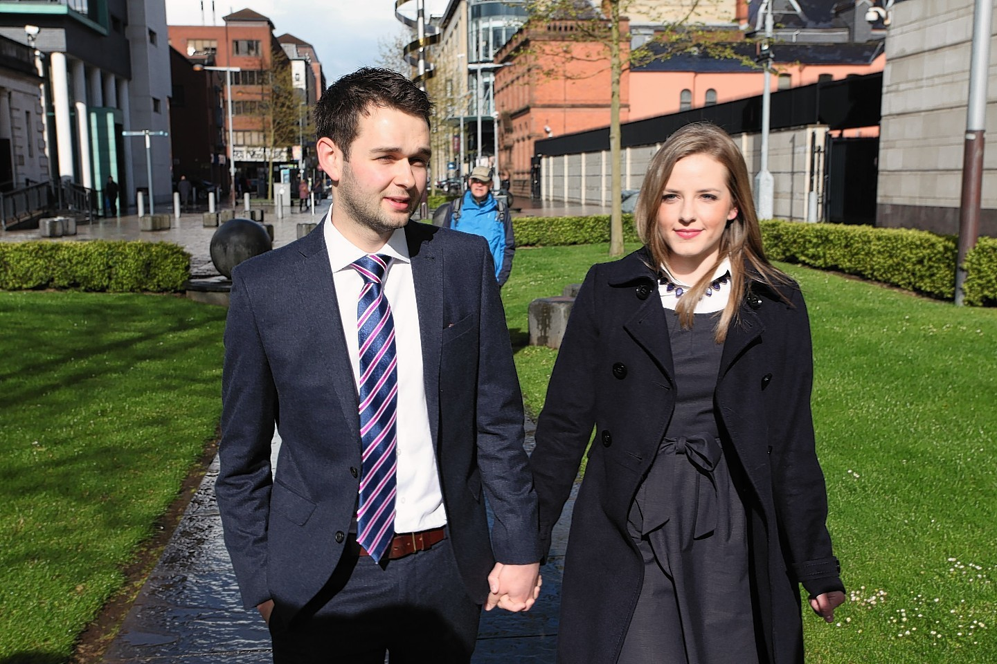 Daniel and Amy McArthur of Ashers Baking Company, arrive at Belfast County Court
