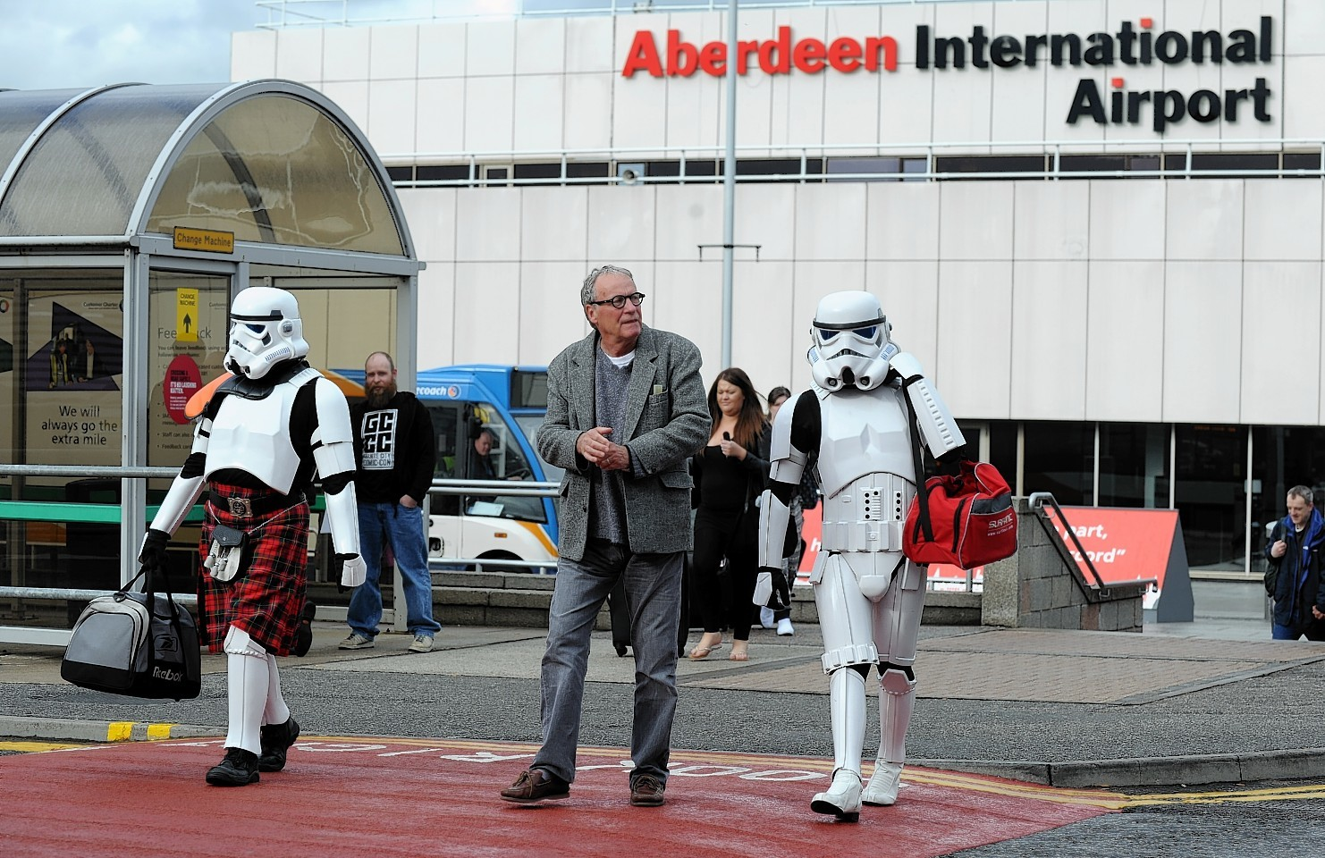 Stomr troopers arrive for the Granite City Comic Con earlier this year with the actor who played Creedo in Star Wars