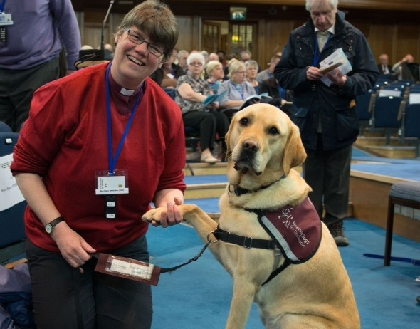 General Assembly of The Church of Scotland 2015; Tuesday 19th of May. Peace be with you.... Woof. Rev Mary Whittaker with Scott, her hearing dog.