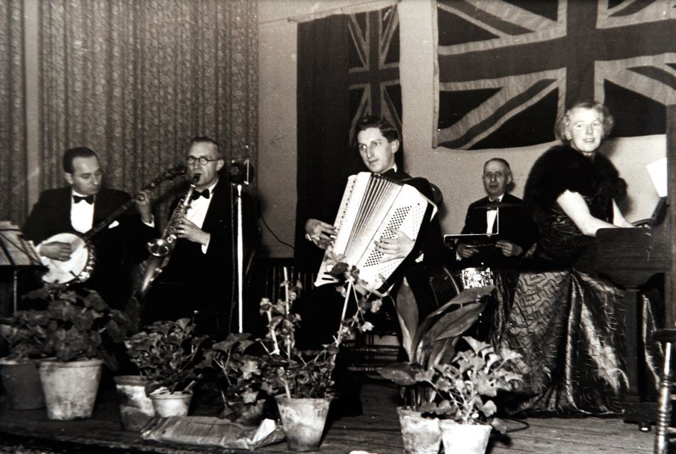 Jack Sinclair, pictured with his accordian, playing at the VE Day celebration