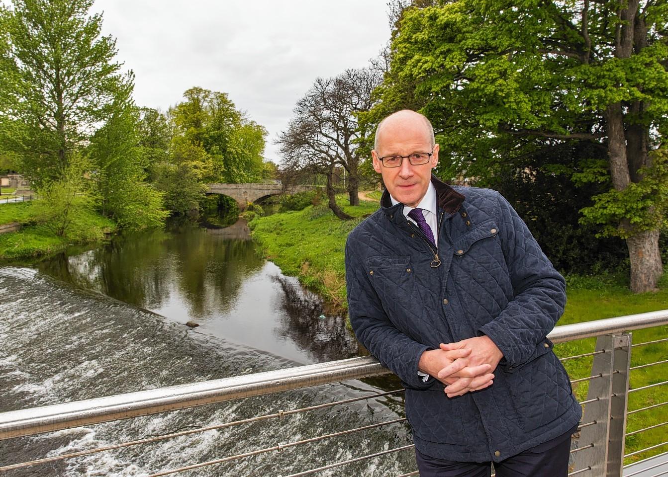 John Swinney visiting the flood scheme