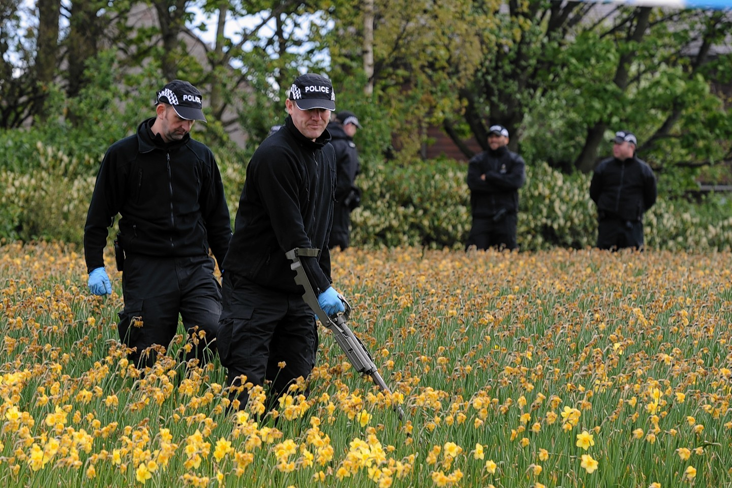 Police search the land at Nigg Way, Aberdeen. Picture by Kenny Elrick