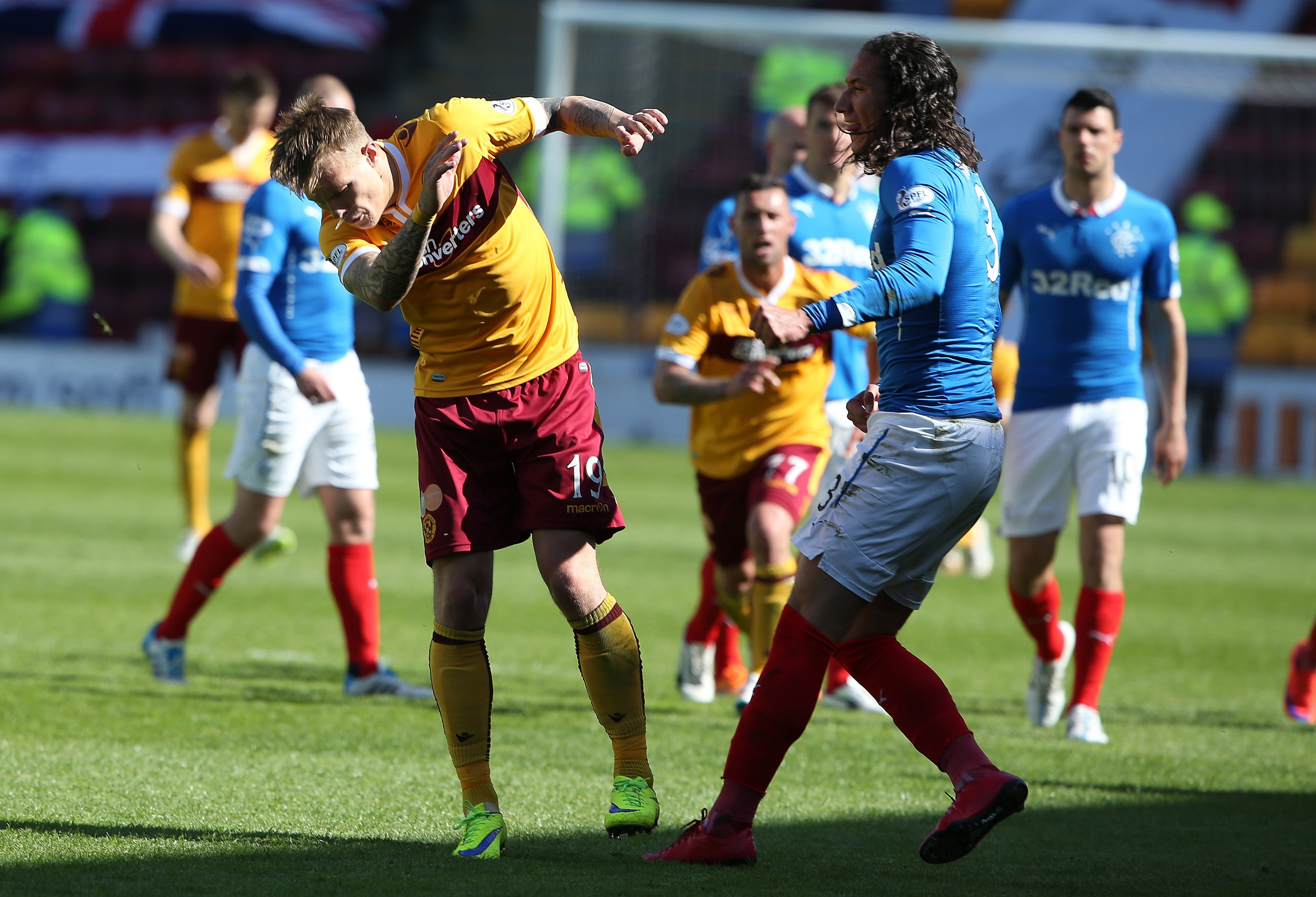 Rangers player Bilel Mohsni reacts after full time