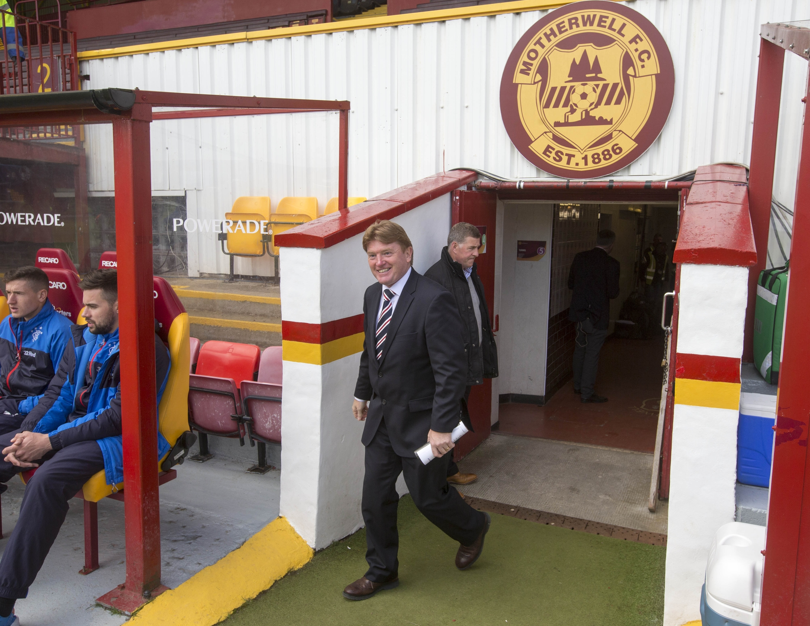 Rangers manager Stuart McCall arrives back at his old club ahead of the Scottish Premiership Play-off between Motherwell and Rangers