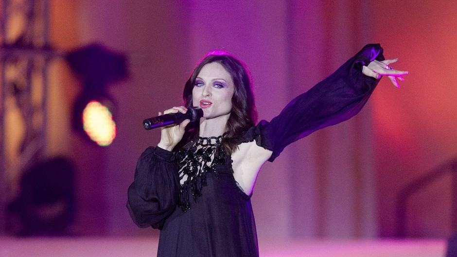 Sophie Ellis-Bextor performs during the opening ceremony of the Life Ball (AP)