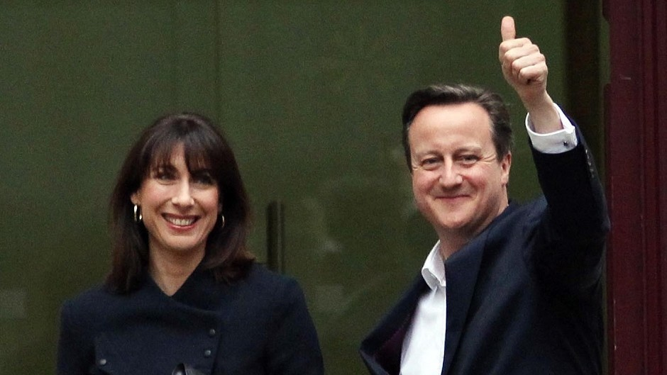 Prime Minister David Cameron and wife Samantha arrive at Tory headquarters in central London