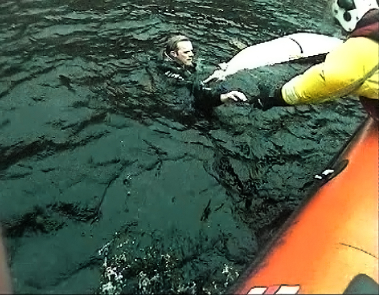 The still from the Loch Ness lifeboat camera shows the man in the water