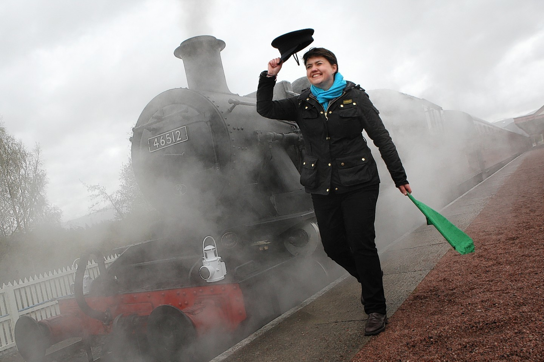 Scottish Conservative leader Ruth Davidson at the Strathspey Railway.