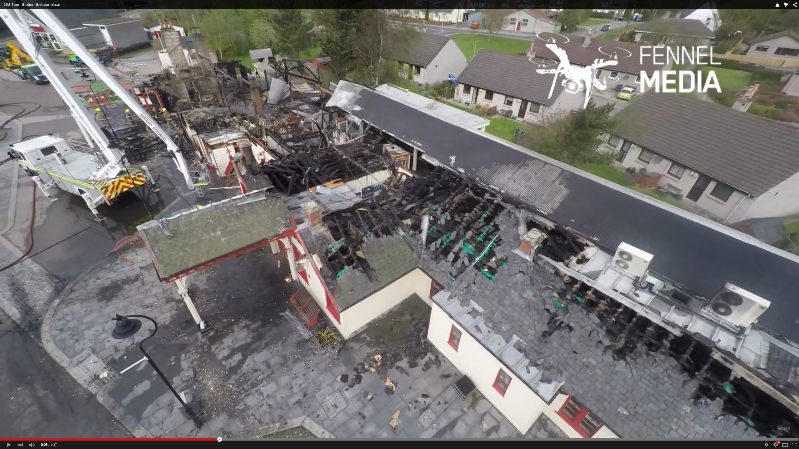 Drone footage of the old train station in Ballater