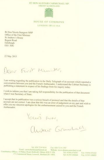 The letter Nicola Sturgeon received from Carmichael