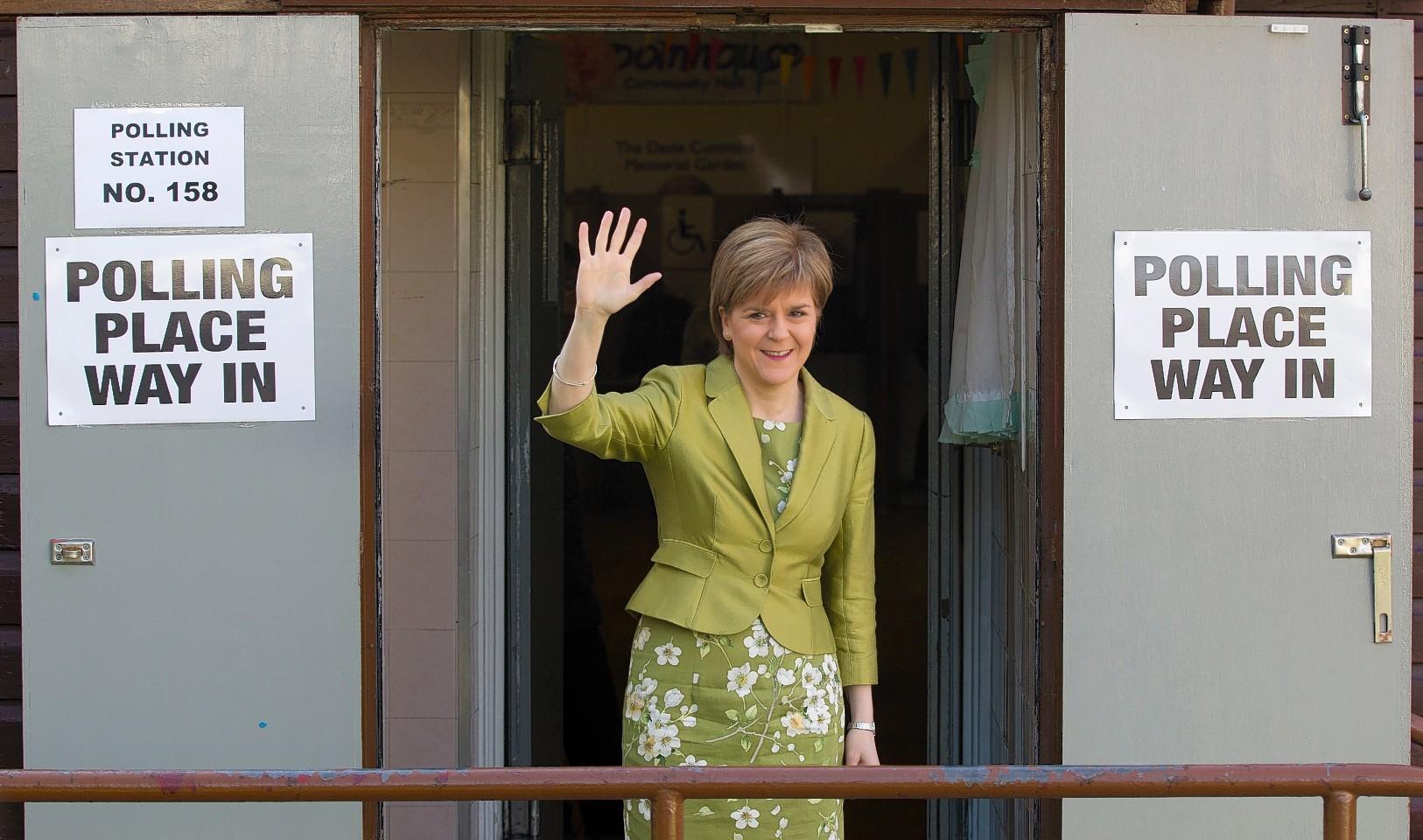 Nicola Sturgeon casts vote at Broomhouse Community Hall in Baillieston