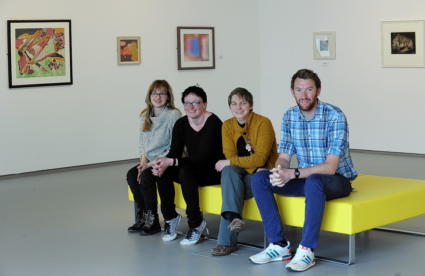 atherine Smith, Tamsin Greenlaw, Sally Thomson, director and Fraser MacDonald in the Suttie Art Space. Picture by Jim Irvine