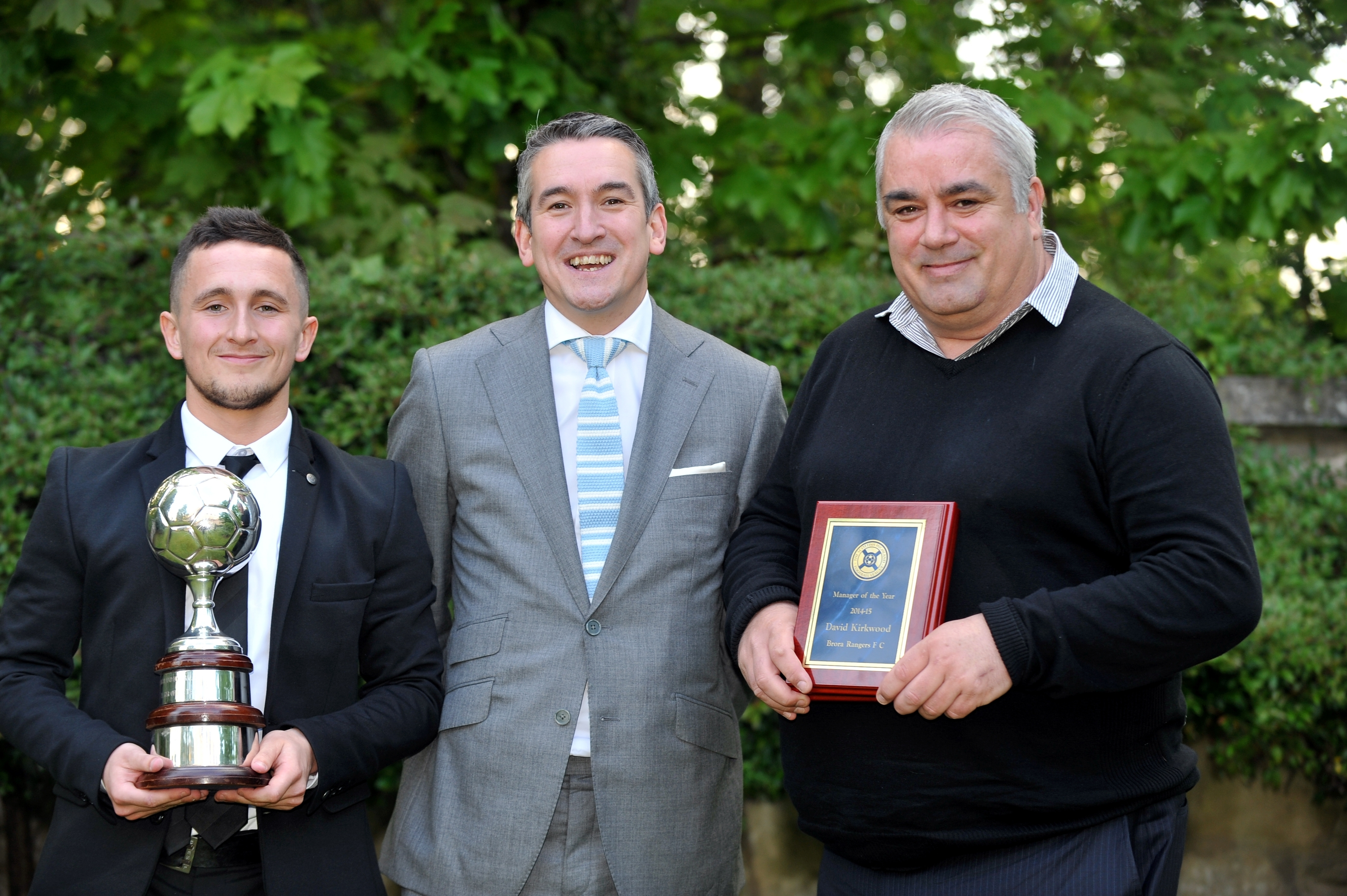 Andrew Greig and  Davie Kirkwood presented with their trophies by editor in chief, Damian Bates. Picture by Gordon Lennox