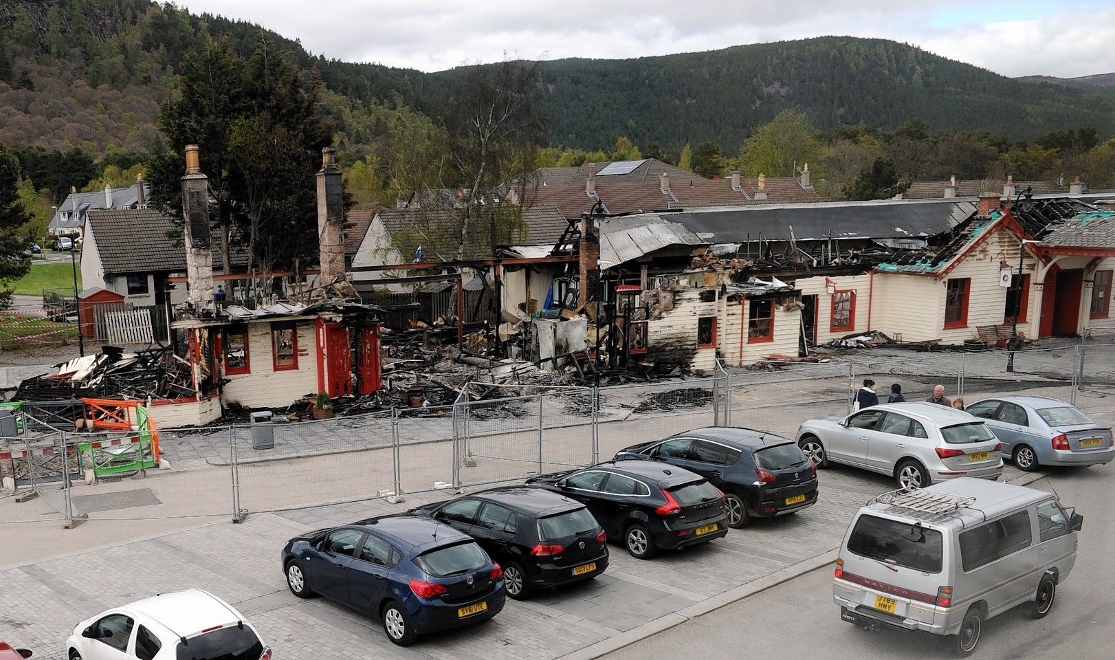 The Royal Station in Ballater the day after it was destroyed by the fire