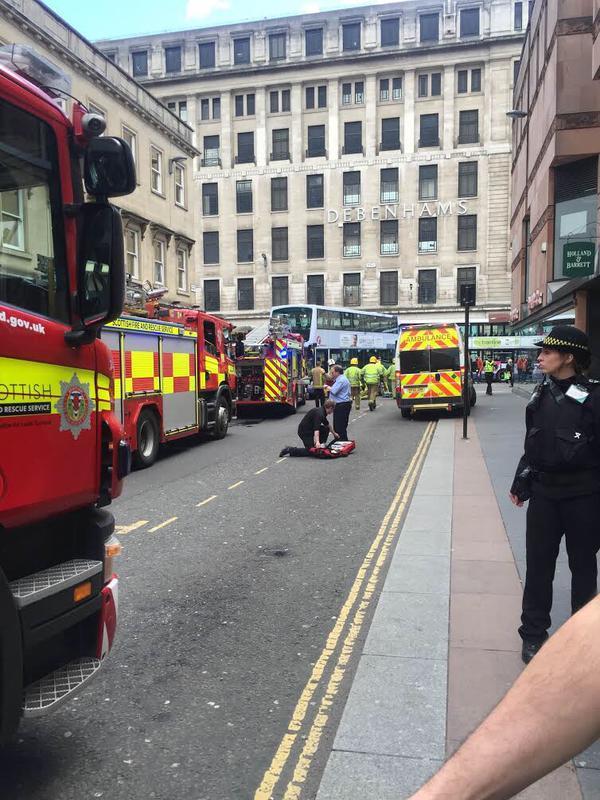 The scene of the crash in Glasgow city centre - pic by Pip Nicoletti