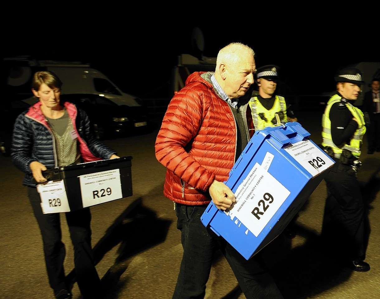 The first boxes of votes arrives to be counted in Dingwall