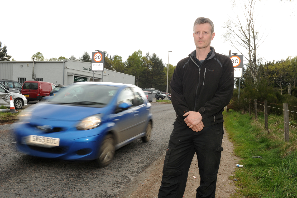 Scott McHardy, owner of the Dinnet Garage near where a bad accident involving an ambulance and car took place.