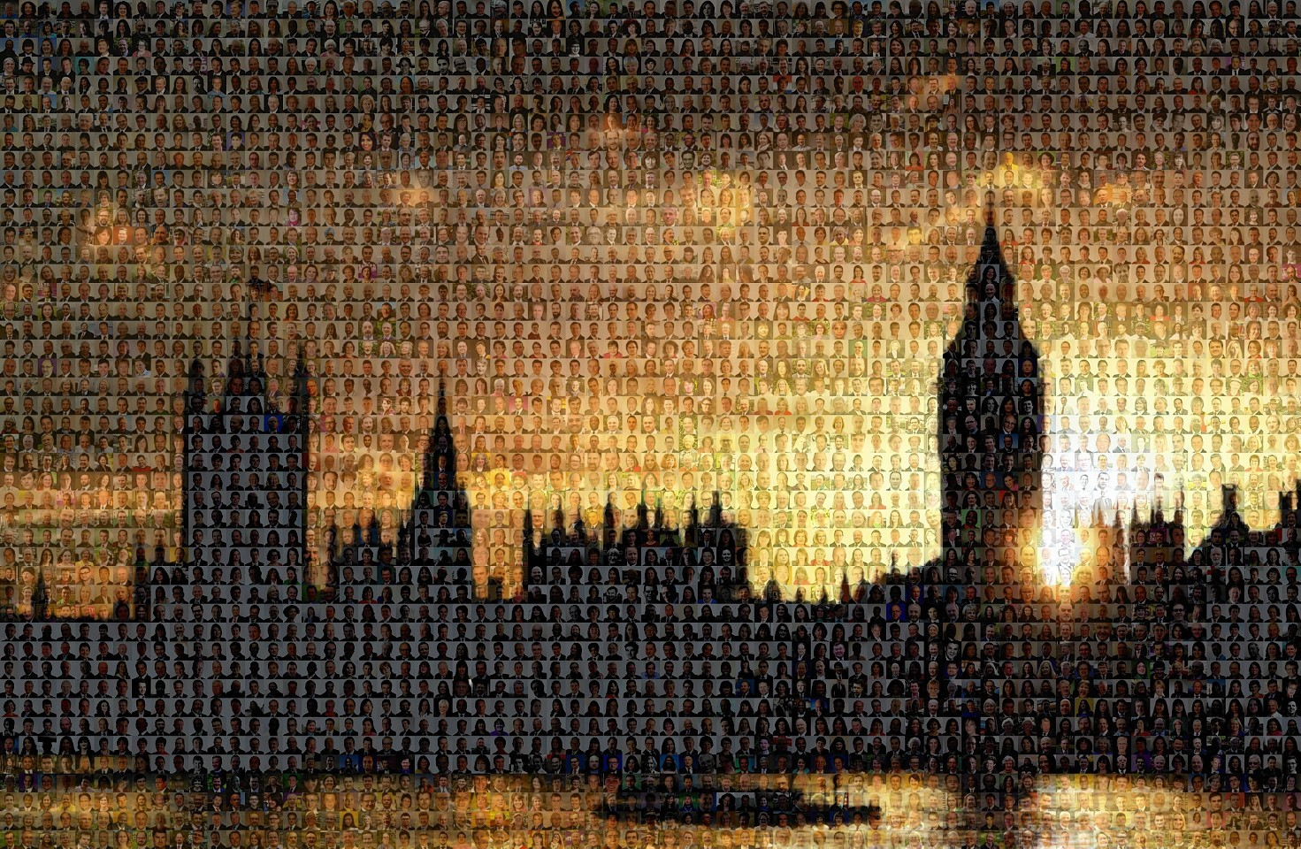 This computer-generated mosaic shows more than 3,100 candidates standing in Thursday's General Election montaged onto a picture of the Houses of Parliament.