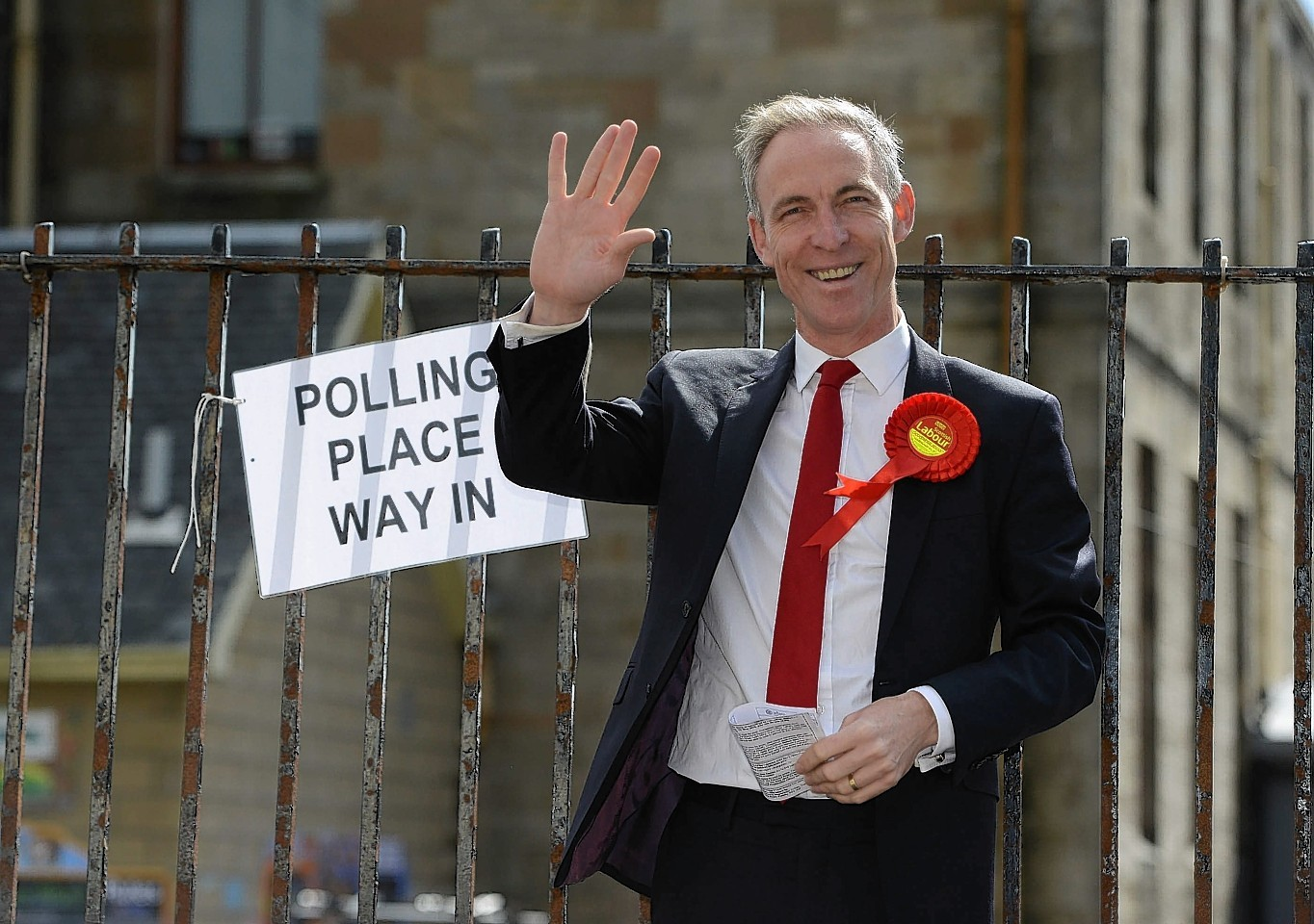 Jim Murphy, Scottish Labour Leader casting his ballot at Busby Primary School, Clarkston