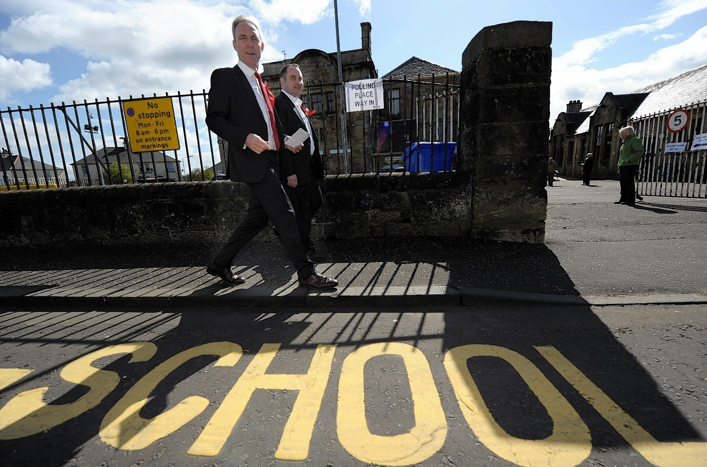 Jim Murphy, Scottish Labour Leader casting his ballot at Busby Primary School, Clarkston,