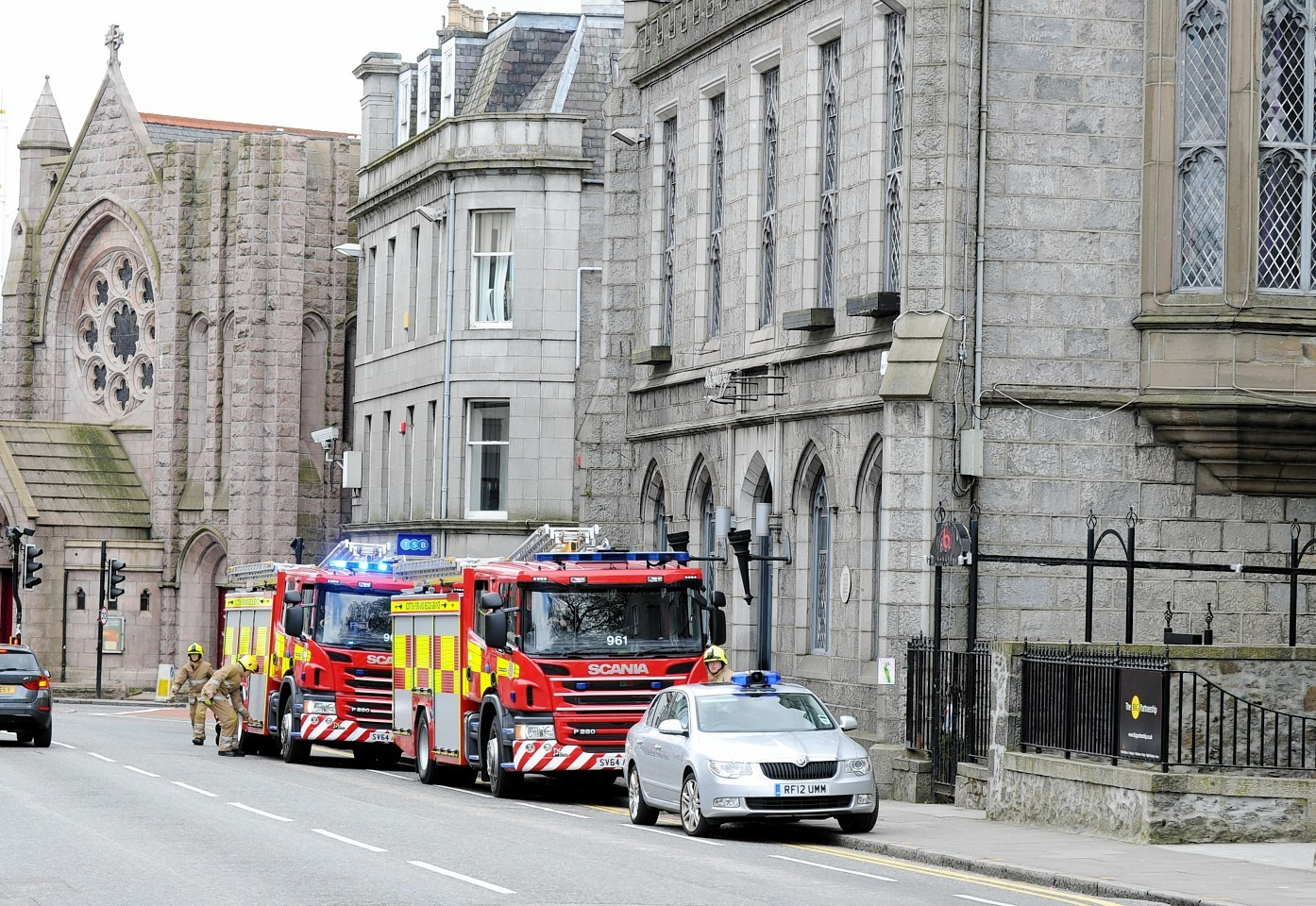 A suspected chemical spill gets the attention of the emergency services. Picture by Colin Rennie