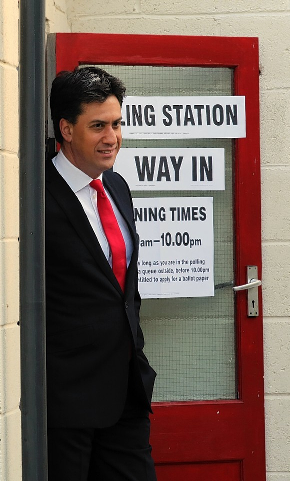 Labour Party leader Ed Miliband after casting his vote at Sutton village hall