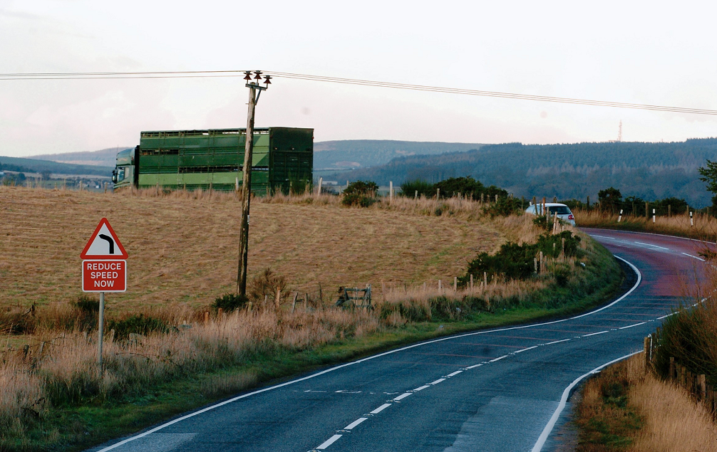 The B979 Stonehaven to Maryculter - or Netherley - road