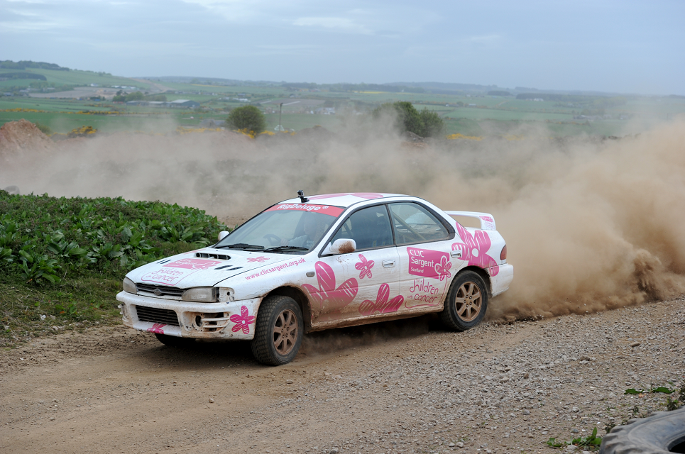 Motorheads got to tear around the Aberdeenshire in pink CLIC Sargent branded Subarus.