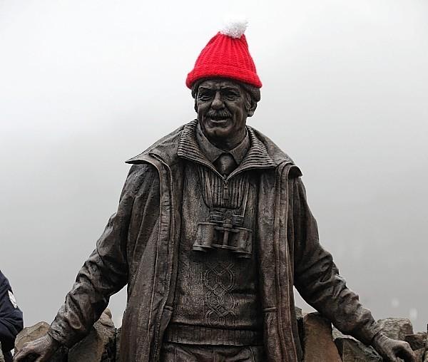 Tom Weir's statue at Balmaha, Loch Lomond,