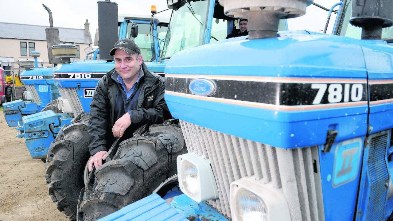 Ian MacDonald of Grange, Keith with his three Ford 7810 tractors on show.