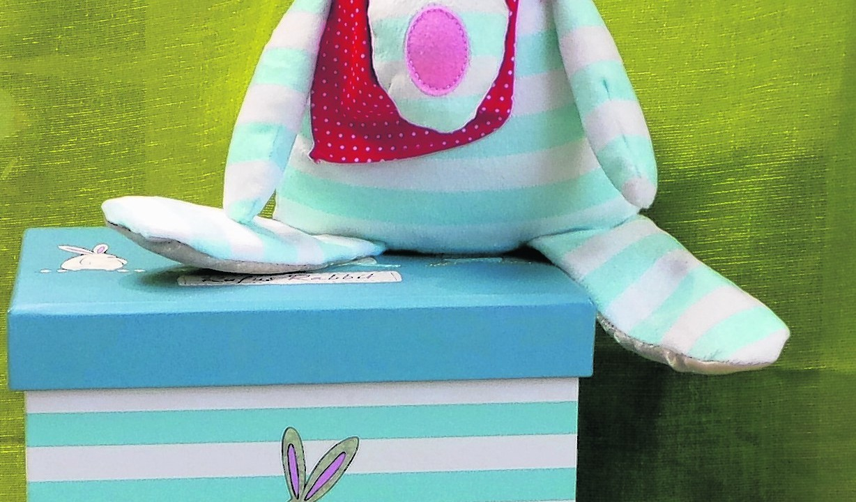 Rufus Rabbit comes in beautiful gift box.  His ears are specially designed for baby to experience texture and sound, while he jingles pleasantly if you move him £30, Aly Bali B, 56 Allardice Street, Stonehaven.  Tel 01569 767095