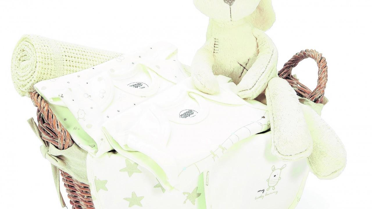 Mamas & Papas Newborn Hamper, with white wicker basket, My First Bear soft toy, 2 body suits, 2 bibs, pram size blanket, £49, Very