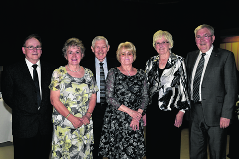 Harry Pittam, Jenny Pittam, Ian Thomson, June Thomson, Margaret Yule and James Yule at Fraserburgh Leisure Centre's 25th Anniversary Ball