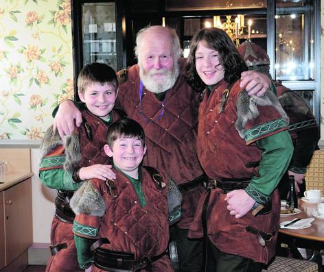 John Sinclair with his grandsons Ross, Ewan and Adam Card