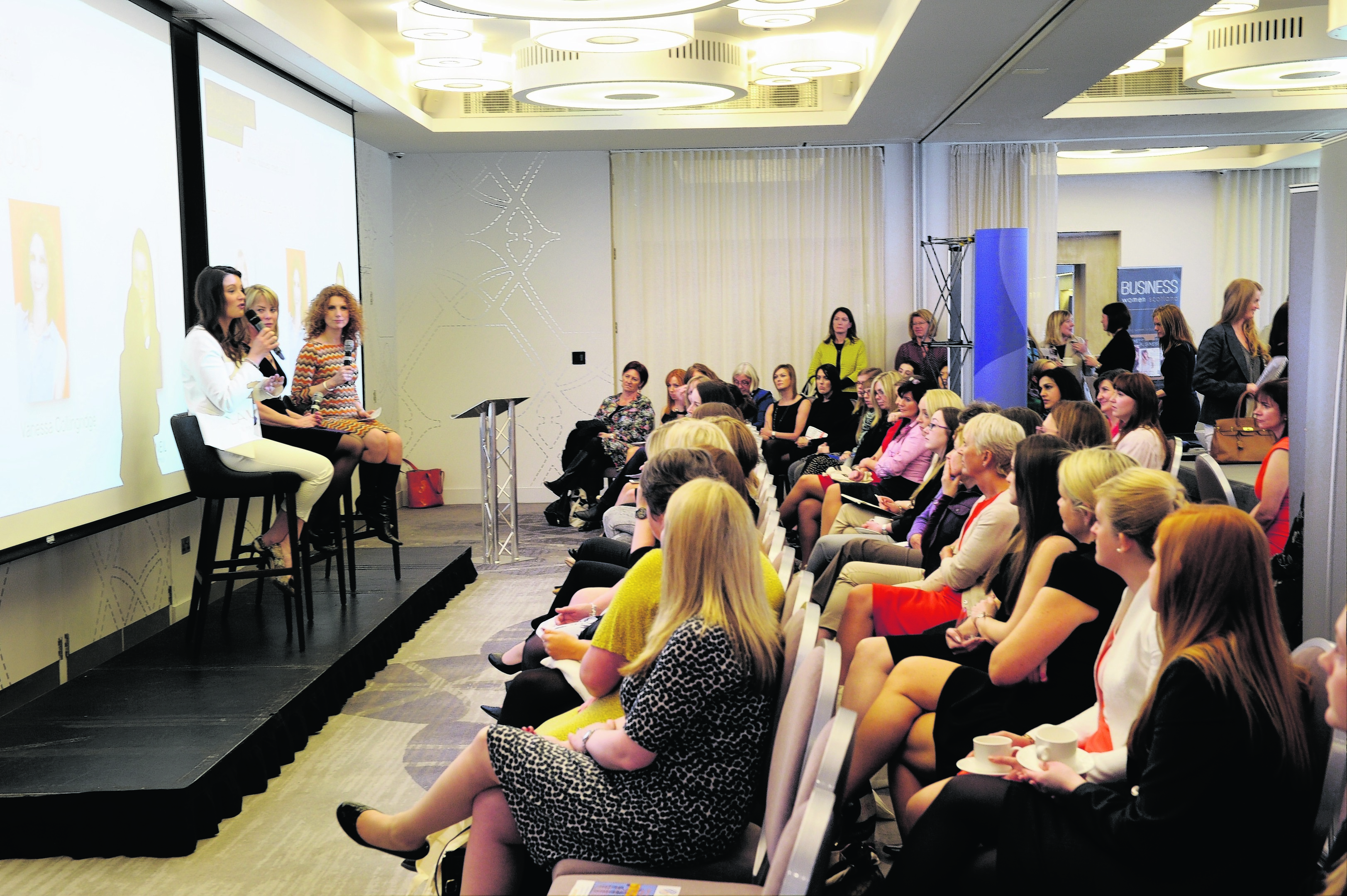 Business Women Scotland event. The Chester Hotel, Aberdeen. (from left) Laura McNeil, Dr Sam Robson and Vanessa Collingridge with the audience. Picture by COLIN RENNIE