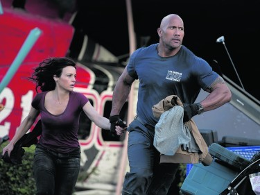Dwayne Johnson and Carla Gugino run for their lives in San Andreas