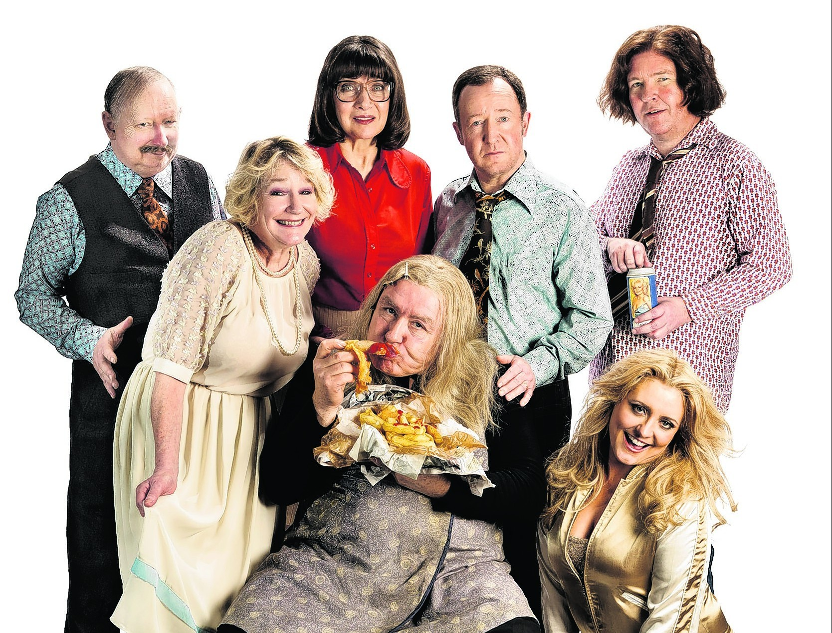 The star-studded cast, back row, from left: Brian Pettifer, Maureen Beattie, Jonathan Watson and Paul Riley.  Front row, from left: Barbara Rafferty, Gregor Fisher  and Louise McCarthy. PHOTO: Eoin Carey