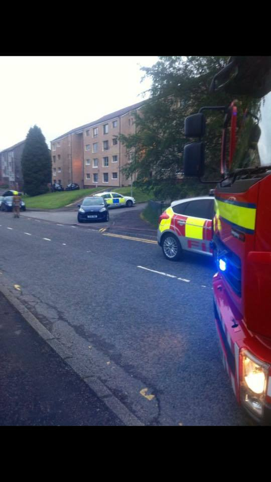 Fire crews and police at the incident with fire teams last night
