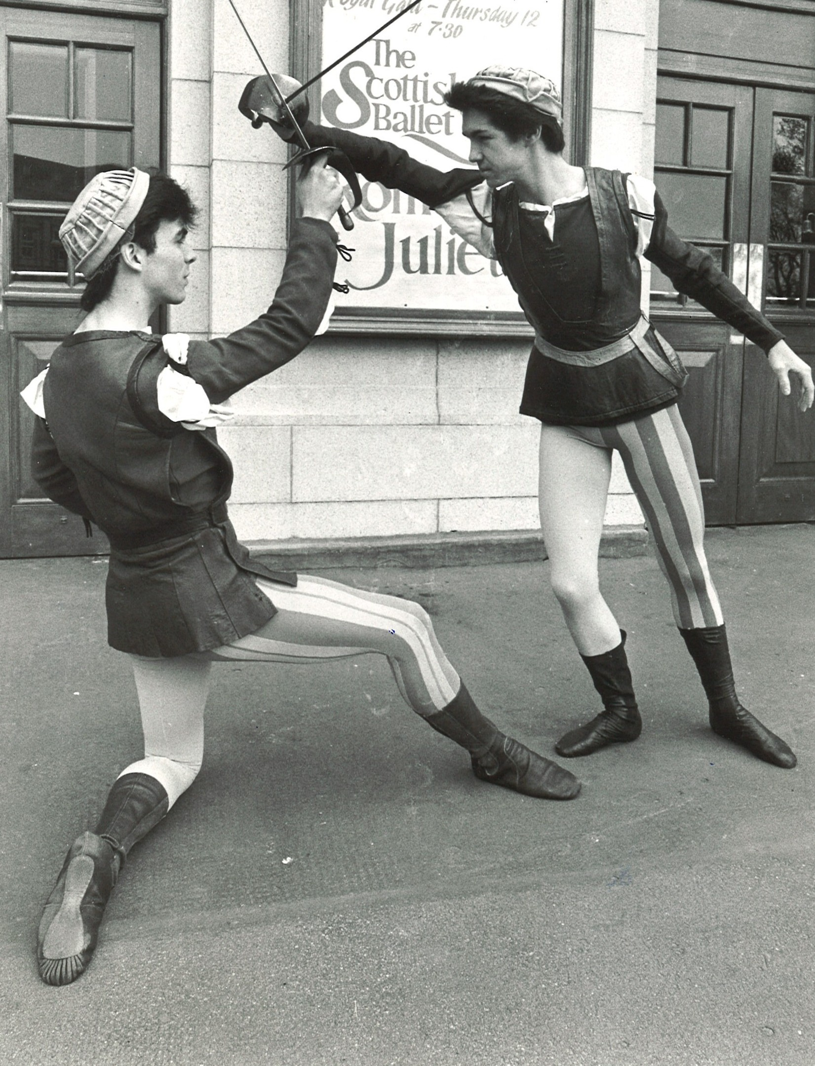 Two of the Scottish Ballet cast practice their sword fight ahead of Romeo and Juliet in  1984