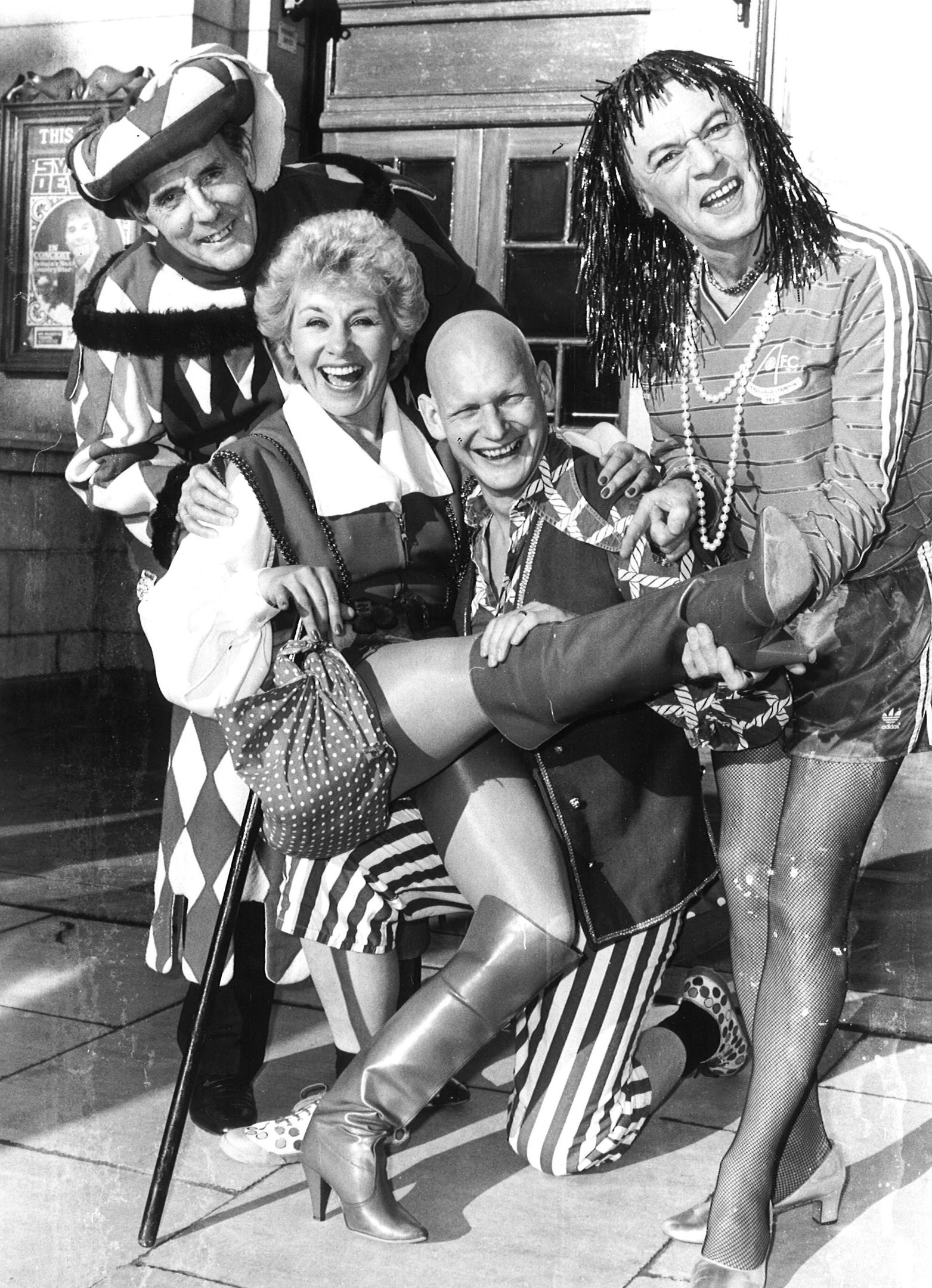 Stars of pantomime Dick Whittington pose for the camera in 1985